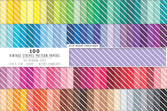 100 Striped Pattern Papers Graphic Backgrounds By clipheartcreations