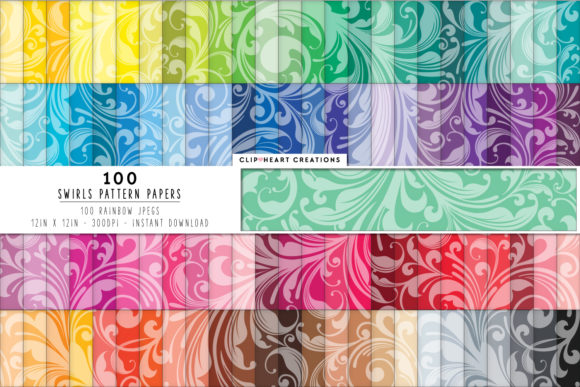 100 Swirl Pattern Digital Papers Graphic Backgrounds By clipheartcreations