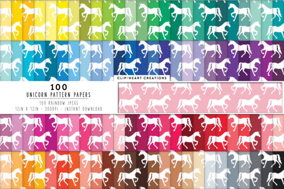 100 Unicorn Pattern Digital Papers Graphic Backgrounds By clipheartcreations