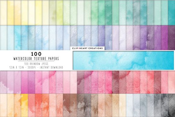 100 Watercolor Texture Digital Papers Graphic Backgrounds By clipheartcreations
