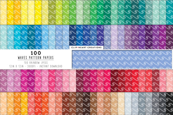 Download Free 100 Waves Pattern Digital Papers Graphic By Clipheartcreations SVG Cut Files