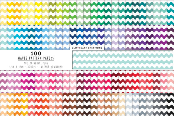 100 Waves Pattern Digital Papers Graphic Backgrounds By clipheartcreations