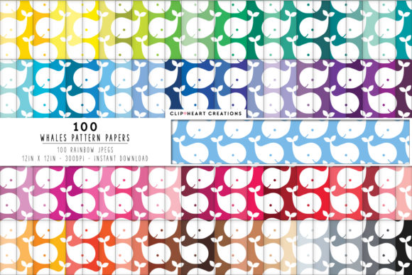 100 Whale Pattern Digital Papers Graphic Backgrounds By clipheartcreations