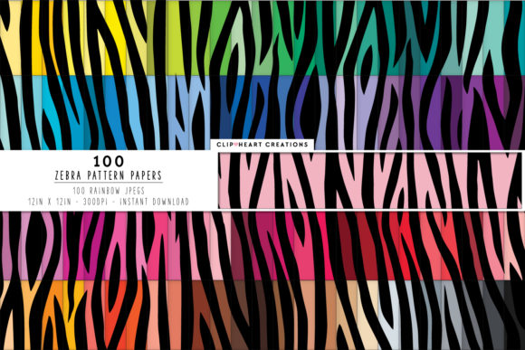 100 Zebra Print Pattern Digital Papers Graphic Backgrounds By clipheartcreations