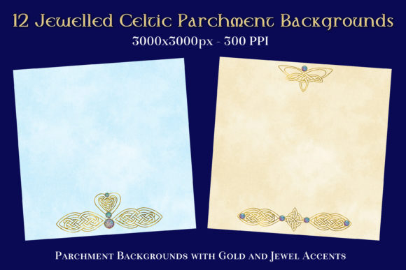Print on Demand: 12 Jewelled Celtic Parchment Backgrounds Graphic Backgrounds By SapphireXDesigns - Image 1
