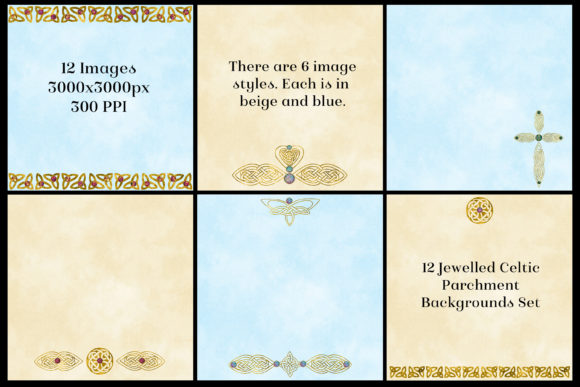 Print on Demand: 12 Jewelled Celtic Parchment Backgrounds Graphic Backgrounds By SapphireXDesigns - Image 2