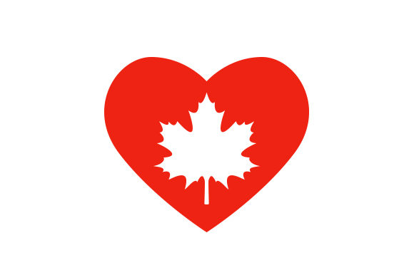 Maple Leaf Heart Canada Craft Cut File By Creative Fabrica Crafts