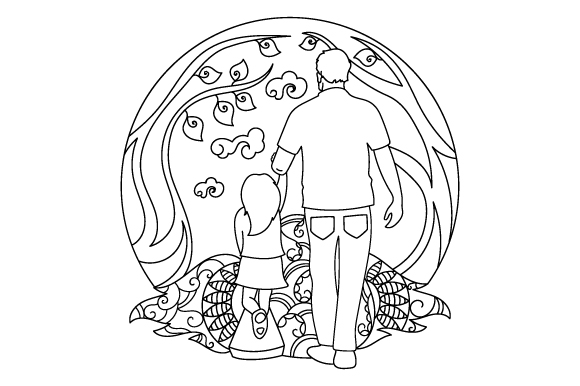Download Free Father S Day Coloring Page Svg Cut File By Creative Fabrica for Cricut Explore, Silhouette and other cutting machines.