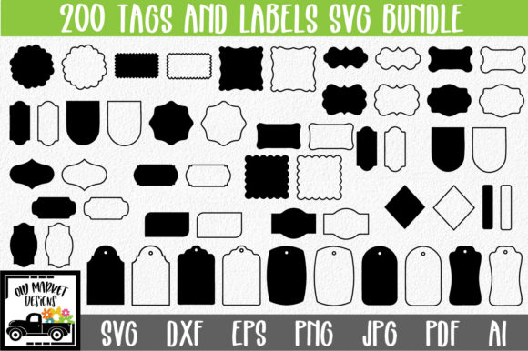 Print on Demand: 200 Tags and Labels Bundle Graphic Crafts By oldmarketdesigns - Image 1