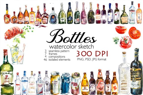 Big Set Watercolor Bottles. Graphic Illustrations By Мария Кутузова