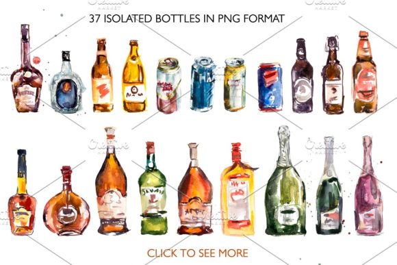 Set of Watercolor Bottles Graphic Illustrations By Мария Кутузова - Image 2