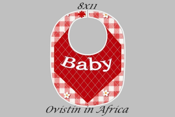 Baby Red Gingham Adorable Baby Bib Large Nursery Embroidery Design By Ovistin in Africa