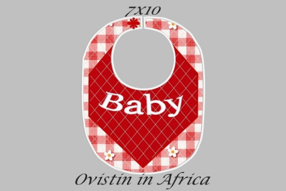 Baby Red Gingham Adorable Baby Bib Small Nursery Embroidery Design By Ovistin in Africa