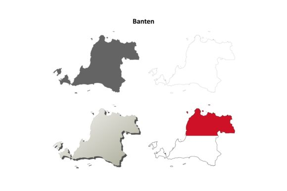 Download Free Banten Outline Map Set Graphic By Davidzydd Creative Fabrica for Cricut Explore, Silhouette and other cutting machines.