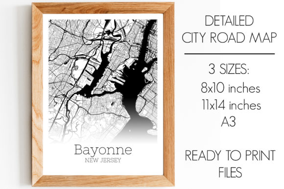 Print on Demand: Bayonne New Jersey City Map Graphic Photos By SVGExpress