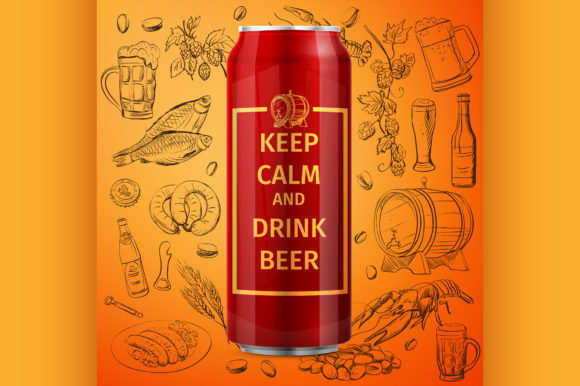 Beer Can Vector Illustration and Hand Graphic Illustrations By netkov1
