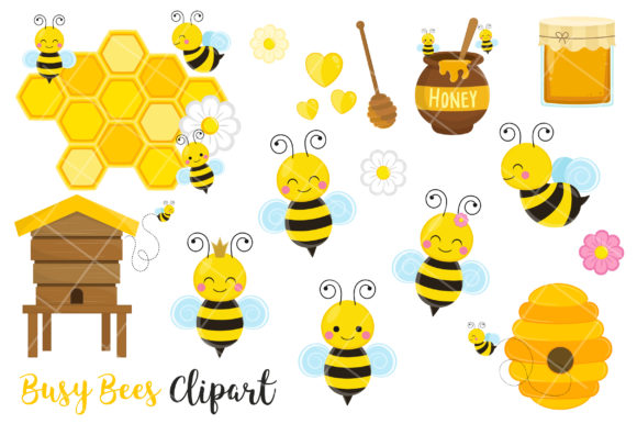 Bees Clipart, Cute Bees and Honey Clipart Gráfico Ilustraciones Por magreenhouse
