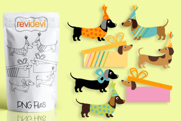 Print on Demand: Birthday Dachshunds Dogs Graphic Illustrations By Revidevi