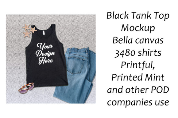 Download Free Black Tank Top Mockup Bella Canvas 3480 Graphic By A Design In for Cricut Explore, Silhouette and other cutting machines.