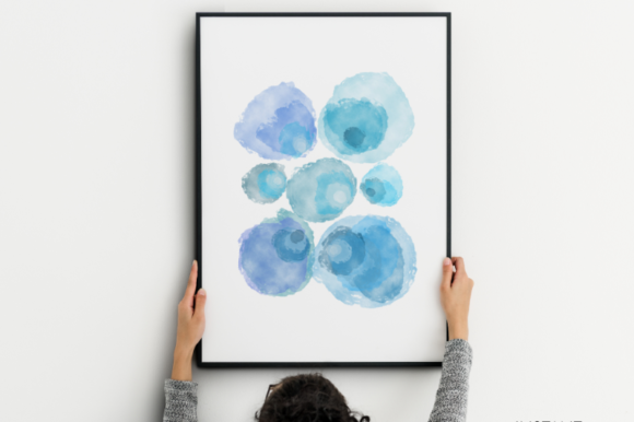 Download Free Blue Watercolor Summer Printable Art Graphic By Artsbynaty for Cricut Explore, Silhouette and other cutting machines.
