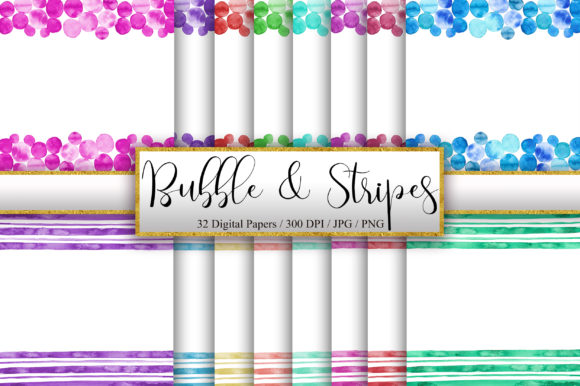 Bubble and Stripes Watercolor Borders Graphic Backgrounds By PinkPearly