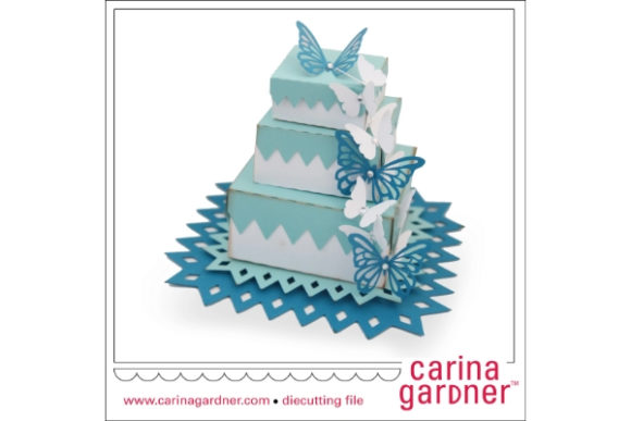 Butterfly Layered Wedding Cake Graphic 3D SVG By carina2