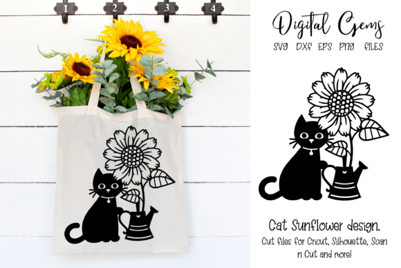 Download Free Cat With Sunflower And Watering Can Graphic By Digital Gems for Cricut Explore, Silhouette and other cutting machines.