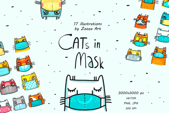 Print on Demand: Cats in Mask - Vector Illustrations Graphic Illustrations By Zooza Art