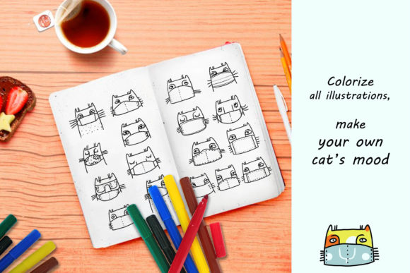 Download Free Cats In Mask Vector Illustrations Graphic By Zooza Art for Cricut Explore, Silhouette and other cutting machines.