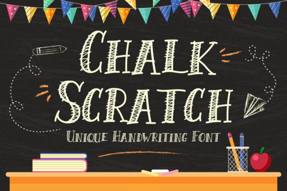 Download Free Chalk Scratch Font By Kotak Kuning Studio Creative Fabrica for Cricut Explore, Silhouette and other cutting machines.