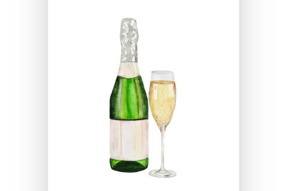 Download Free Champagne Bottle And Champagne Glass Graphic By Netkov1 for Cricut Explore, Silhouette and other cutting machines.