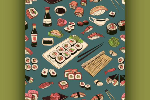 Download Free Colored Sushi And Rolls Seamless Pattern Graphic By Netkov1 for Cricut Explore, Silhouette and other cutting machines.