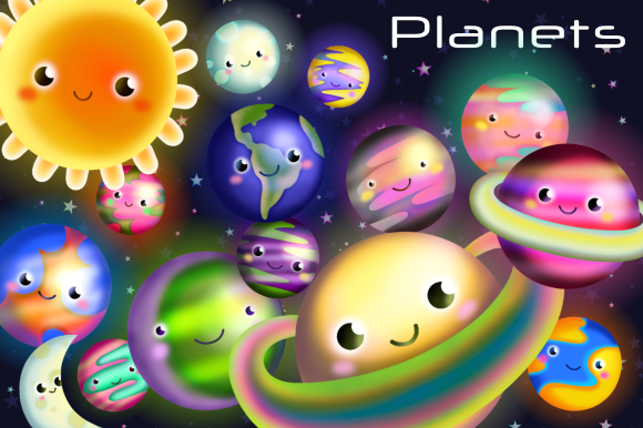 Print on Demand: Cosmic Outer Space Planet Clipart Grafik Illustrationen von Prawny
