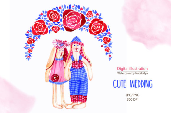 Cute Bunnies Wedding Clipart Graphic Illustrations By NataliMyaStore
