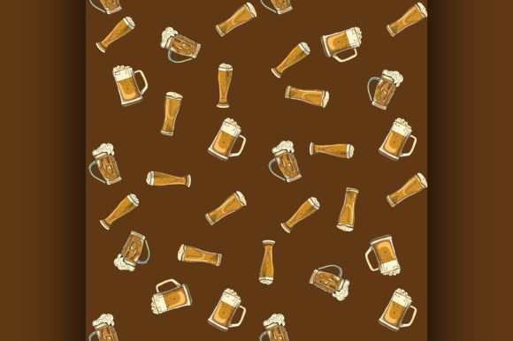 Download Free Doodle Beer Glasses Pattern Graphic By Netkov1 Creative Fabrica SVG Cut Files