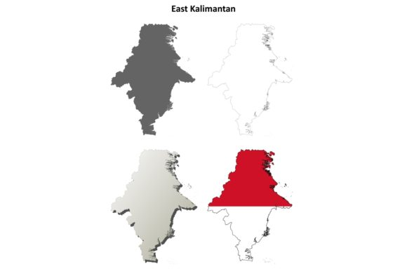 Download Free East Kalimantan Outline Map Set Graphic By Davidzydd Creative for Cricut Explore, Silhouette and other cutting machines.