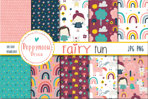 Print on Demand: Fairy Fun Paper Grafik Muster von poppymoondesign