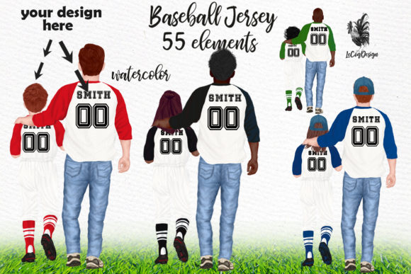 Father's Day Clipart Baseball Jersey Graphic Illustrations By LeCoqDesign