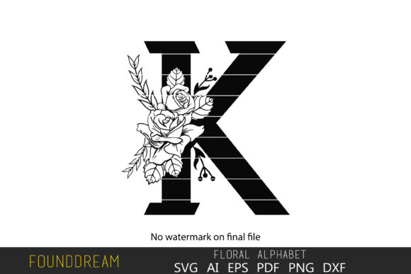 Download Free Floral Alphabet K Letter Graphic By Foundream Creative Fabrica SVG Cut Files