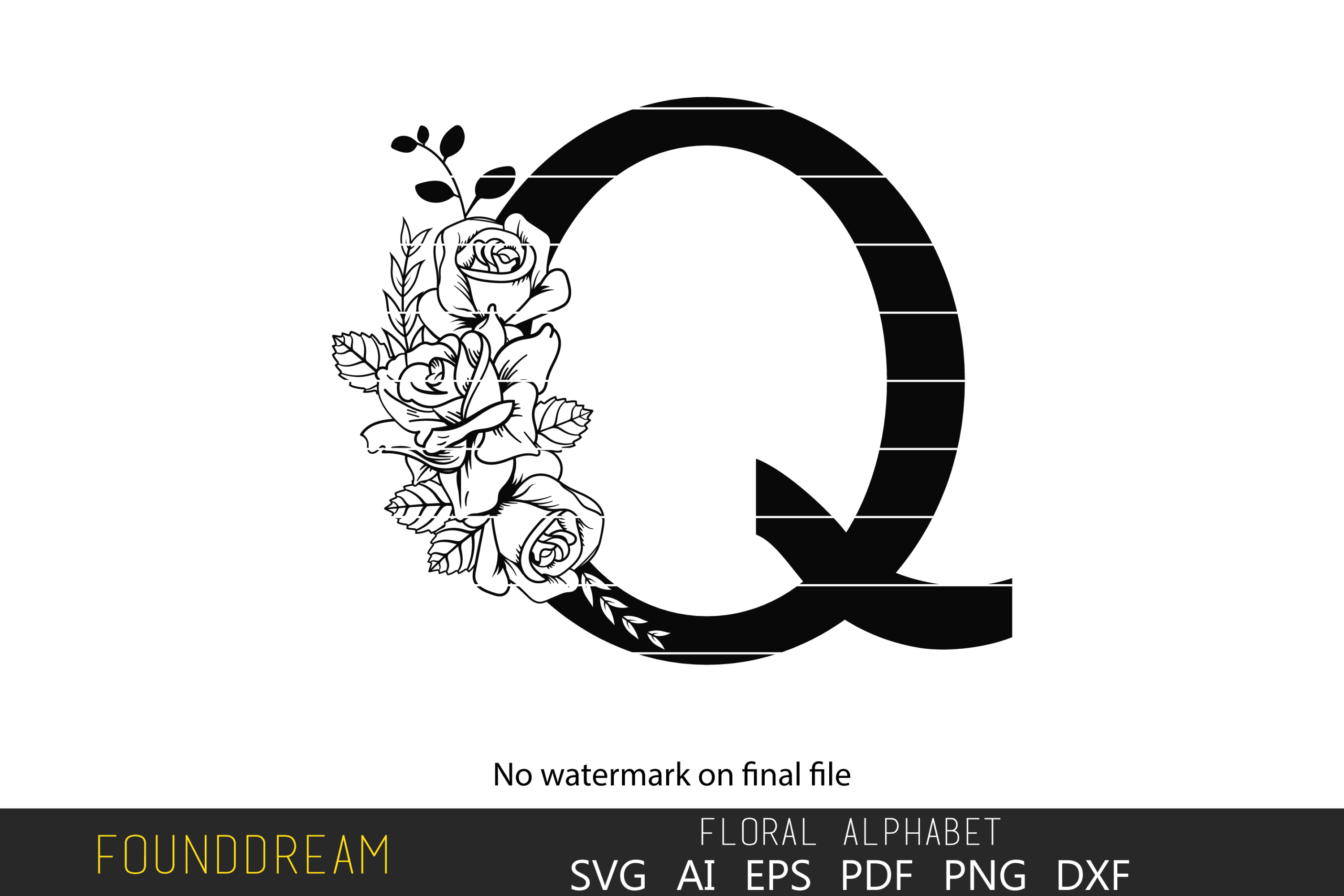 Download Free Floral Alphabet Q Letter Graphic By Foundream Creative Fabrica for Cricut Explore, Silhouette and other cutting machines.