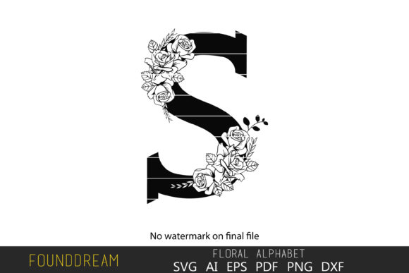Download Free Floral Alphabet E Letter Graphic By Foundream Creative Fabrica for Cricut Explore, Silhouette and other cutting machines.