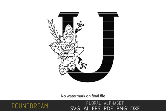 Print on Demand: Floral Alphabet, U Letter Graphic Crafts By FounDream