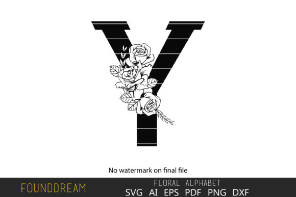 Print on Demand: Floral Alphabet, Y Letter Graphic Crafts By FounDream