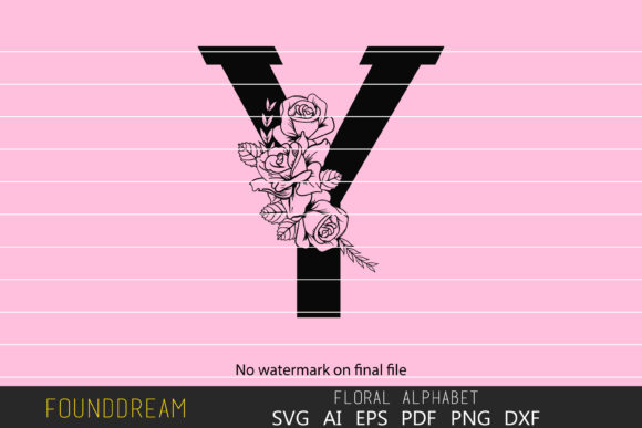 Download Free Floral Alphabet Y Letter Graphic By Foundream Creative Fabrica for Cricut Explore, Silhouette and other cutting machines.