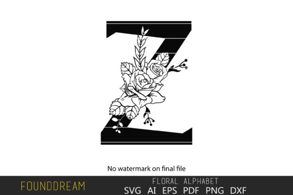 Download Free Floral Alphabet I Letter Graphic By Foundream Creative Fabrica for Cricut Explore, Silhouette and other cutting machines.