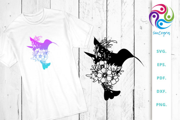 Print on Demand: Floral Bird Silhouette Cut File Graphic Crafts By Sintegra