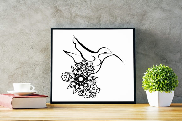 Download Free Floral Linear Art Bird Cut File Graphic By Sintegra Creative for Cricut Explore, Silhouette and other cutting machines.