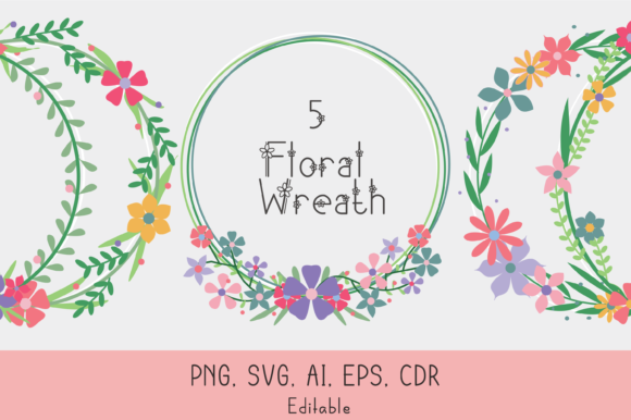 Download Free Floral Wreath Graphic By Nuraisyahamalia1729 Creative Fabrica for Cricut Explore, Silhouette and other cutting machines.