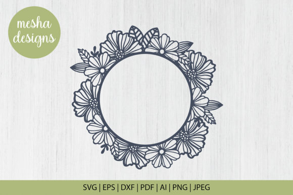 Download Free Flower Frame Paper Cut Template Graphic By Diycuttingfiles for Cricut Explore, Silhouette and other cutting machines.