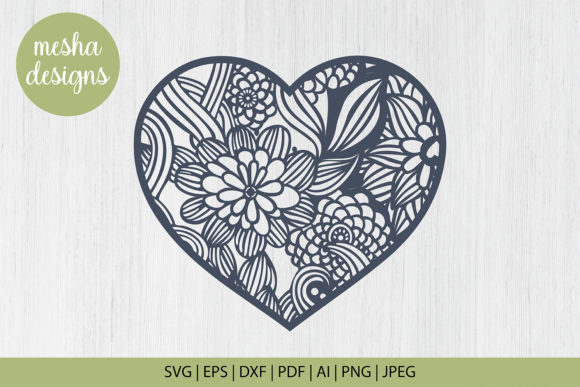Download Free Flower Heart Frame Paper Cut Template Graphic By Diycuttingfiles for Cricut Explore, Silhouette and other cutting machines.
